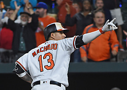 August 29, 2017 - Baltimore, MD, USA - The Baltimore Orioles' Manny Machado points to the stands after hitting a home run against the Seattle Mariners in the sixth inning at Oriole Park at Camden Yards in Baltimore on Tuesday, Aug. 29, 2017. The Orioles won, 4-0. (Credit Image: © Kenneth K. Lam/TNS via ZUMA Wire)