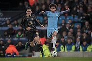 Leroy Sané (Manchester City) runs with the ball during the Champions League match between Manchester City and Celtic at the Etihad Stadium, Manchester, England on 6 December 2016. Photo by Mark P Doherty.