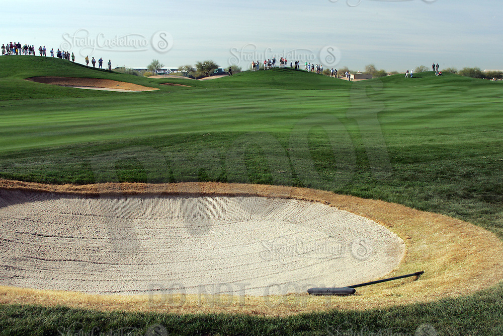 2006:  Stock Golf course detail, graphic, product, grass, sky, ball, fans, gallery, bunker, sand pit, green, color.