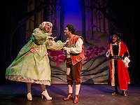 Mark Stephen Woods as Dame Dottie Trot, Jack Harding as Billy Trot and Ken Chapman as Baron Stoneyheart in the Winnipesaukee Playhouse pantomime of Jack and the Beanstalk.   (Karen Bobotas/for the Laconia Daily Sun)