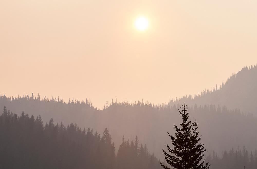 Smoke filled air around Mount Rainier National Park in August of 2018, Washington, USA.