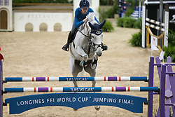 Allen Bertram, (IRL), Molly Malone V <br /> Training session<br /> Longines FEI World Cup™ Jumping Finals <br /> Las Vegas 2015<br />  © Hippo Foto - Dirk Caremans<br /> 15/04/15