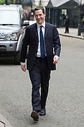 © Licensed to London News Pictures. 08/05/2015. Westminster, UK Chancellor George Osborne arrives back at Downing Street after the general election on 8th May 2015. Photo credit : Stephen Simpson/LNP