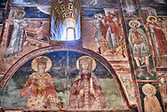 Pictures & images of the interior frescoes of Ubisa St. George Georgian Orthodox medieval monastery, Georgia (country)<br /> <br /> The 14th century lavish interior frescoes were painted by Gerasim in a local style known as Palaeologus  following Byzantine influences. .<br /> <br /> Visit our MEDIEVAL PHOTO COLLECTIONS for more   photos  to download or buy as prints https://funkystock.photoshelter.com/gallery-collection/Medieval-Middle-Ages-Historic-Places-Arcaeological-Sites-Pictures-Images-of/C0000B5ZA54_WD0s<br /> <br /> Visit our REPUBLIC of GEORGIA HISTORIC PLACES PHOTO COLLECTIONS for more photos to browse, download or buy as wall art prints https://funkystock.photoshelter.com/gallery-collection/Pictures-Images-of-Georgia-Country-Historic-Landmark-Places-Museum-Antiquities/C0000c1oD9eVkh9c .<br /> <br /> Visit our MEDIEVAL PHOTO COLLECTIONS for more   photos  to download or buy as prints https://funkystock.photoshelter.com/gallery-collection/Medieval-Middle-Ages-Historic-Places-Arcaeological-Sites-Pictures-Images-of/C0000B5ZA54_WD0s<br /> <br /> Visit our REPUBLIC of GEORGIA HISTORIC PLACES PHOTO COLLECTIONS for more photos to browse, download or buy as wall art prints https://funkystock.photoshelter.com/gallery-collection/Pictures-Images-of-Georgia-Country-Historic-Landmark-Places-Museum-Antiquities/C0000c1oD9eVkh9c