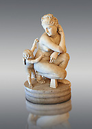 2nd century AD Roman marble sculpture of Aphrodite (Venus), 'Dresden Capitoline Type, copied from a Bronze Hellanistic original from the mid 3rd century BC  attributed to the Greek sculptor Doldalsas of Bethynia,  inv 6283  Farnese Collection, Naples  Museum of Archaeology, Italy ..<br /> <br /> If you prefer to buy from our ALAMY STOCK LIBRARY page at https://www.alamy.com/portfolio/paul-williams-funkystock/greco-roman-sculptures.html . Type -    Naples    - into LOWER SEARCH WITHIN GALLERY box - Refine search by adding a subject, place, background colour, etc.<br /> <br /> Visit our ROMAN WORLD PHOTO COLLECTIONS for more photos to download or buy as wall art prints https://funkystock.photoshelter.com/gallery-collection/The-Romans-Art-Artefacts-Antiquities-Historic-Sites-Pictures-Images/C0000r2uLJJo9_s0