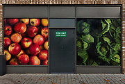 Back of Sainsburys Supermarket showing photographs of fresh fruit and vegetables during the second national coronavirus lockdown on 8th November 2020 in London, United Kingdom. The new national lockdown is a huge blow to the economy and for individuals who were already struggling, as Covid-19 restrictions are put in place until 2nd December across England, with all non-essential businesses closed.
