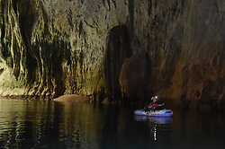 """An expedition member rows into the Miao Room Chamber, China's largest cave chamber by volume, in Ziyun County of southwest China's Guizhou Province, April 14, 2016. In 2014, National Geographic announced Miao Room Chamber, with a volume of some 19.78 million cubic meters, as the world's largest cave chamber. A joint caving expedition code-named """"Pearl"""" by explorers and scientists from China and France kicked off here on April 11 during the 19-day exploration, they will conduct comprehensive investigation on famous caves in Guizhou including the Miao Room Chamber and Shuanghe Cave in Suiyang. EXPA Pictures © 2016, PhotoCredit: EXPA/ Photoshot/ Ou Dongqu<br /> <br /> *****ATTENTION - for AUT, SLO, CRO, SRB, BIH, MAZ, SUI only*****"""