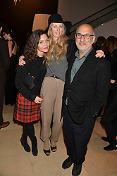 Left to right, LILY BERTRAND-WEBB, ITHAKA RODDAM and ALAN YENTOB at a private view of photographs by David Bailey entitled 'Bailey's Stardust' at the National Portrait Gallery, St.Martin's Place, London on 3rd February 2014.