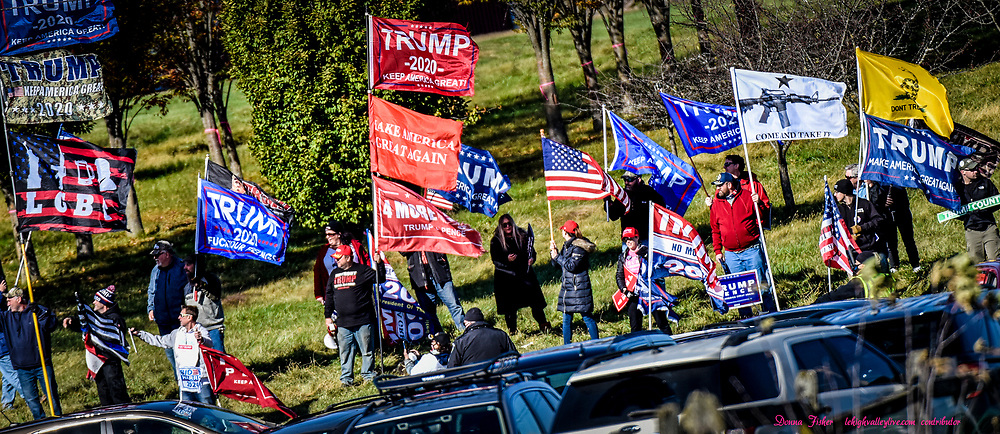 Trump supporters meet Harris supporters at the entrance to Dutch Springs. U.S. Sen. Kamala Harris, running mate of Joe Biden, speaks to supporters at Dutch Springs in Bethlehem, Pa., Monday, November 2, 2020.