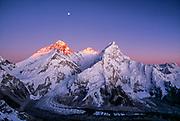 Moonrise over Chomolungma, Sunset on Mt Everest, Lhotse & Nuptse from Sth Ridge Pumori, Khumbu Himal, Nepal Himalaya.