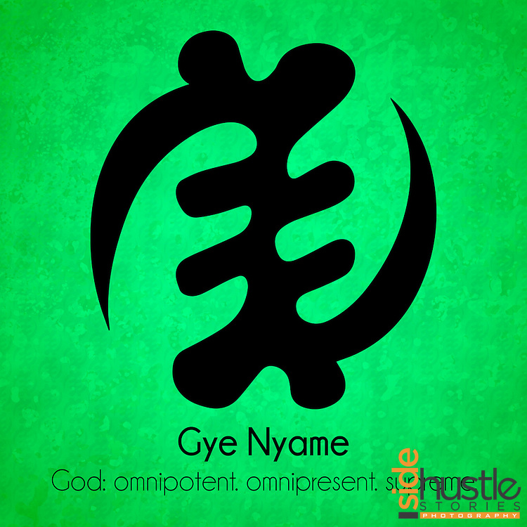 """Gye Nyame - God: omnipotent. omnipresent. supreme.<br /> <br /> <br /> This green poster features the Adinkra symbol Gye Nyame, used all over Ghana and across the diaspora. The literal translation* of Gye Nyame in Akan is """"Except God""""*, Often misheard as """"accept God"""", the Gye Nyame represents the idea that """"Except God, I fear no one"""" and the idea of God being supreme above all creation. Adinkra symbols are West African designs that have represented elements of Ghanaian values and culture for hundreds of years. <br /> <br /> <br /> *Literal translation from the book: """"The Adinkra Dictionary - A Visual Primer on the Language of Adinkra"""" and my parents. Akan (or Twi) is spoken in both Ghana and Côte d'Ivoire."""