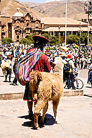 A quechua woman and her llama watch a Protest in Main Square Cusco, Peru