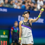 2019 US Open Tennis Tournament- Day Eight.  Belinda Bencic of Switzerland in action against Naomi Osaka of Japan in the Women's Singles round four match on Arthur Ashe Stadium during the 2019 US Open Tennis Tournament at the USTA Billie Jean King National Tennis Center on September 2nd, 2019 in Flushing, Queens, New York City.  (Photo by Tim Clayton/Corbis via Getty Images)