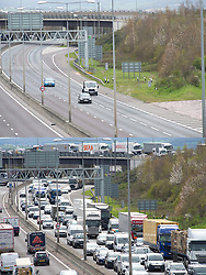 ©Licensed to London News Pictures 03/04/2020  <br /> Dartford, UK. Comparison image today (3/4/2020) and last year (5/4/2019) of the M25 near Dartford in Kent on the day schools would have broken up for Easter and millions of families would have started their getaway journeys for a break. Photo credit:Grant Falvey/LNP