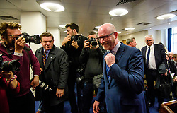 © Licensed to London News Pictures. 08/05/2017. London, UK. UKIP party leader PAUL NUTTALL surrounded by media after speaking at a party policy announcement on migration in Westminster, London, ahead of a general election on June 8. Photo credit: Ben Cawthra/LNP