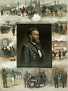 Scenes in life of Ulysses S Grant (1822-1885), 18th President of the United States, from graduation from West Point, 1843, through the American Civil War to Robert E Lee's surrender at Appotomax Court House in 1865. USA Union