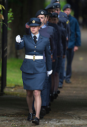 © London News Pictures. 08/06/2012. Thame, UK.   Air Cadettes lead the carriage carrying the coffin of former Bee Geee Robin Gib out of the Gibb family home on it's way to  St Mary's Church in Thame, Oxfordshire for the funeral of former Bee Gee Robin Gibb on June 8, 2012. Robin Gibb died on May 20, 2012 aged 62 following a long battle against cancer. Photo credit: Ben Cawthra/LNP