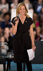Oct. 04, 2016 - Haverford, PA, U.S. -  ELIZABETH BANKS introduces Hillary Clinton and Chelsea Clinton during a conversation with Delaware County families at the Haverford Community Recreation & Community Center.(Credit Image: © Brian Cahn via ZUMA Wire)