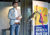 DEN HAAG - Jelle Spree van de KNHB. de Vrijwilligers voor het World Cup Hockey 2014 kwamen zaterdag in het Kyocera voetbalstadion voor het eerst bijeen. FOTO KOEN SUYK