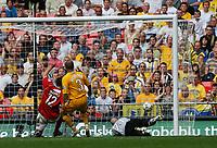 Photo: Steve Bond/Richard Lane Photography. <br />Ebbsfleet United v Torquay United. The FA Carlsberg Trophy Final. 10/05/2008. Chris McFee (L) steers the ball past keeper Martin Rice to score fror Ebbsfleet