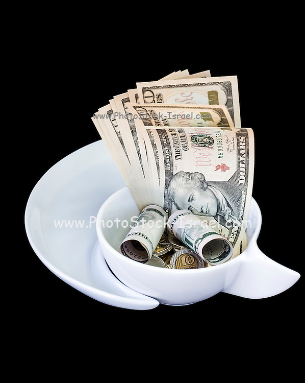 Money - Cash Dollars bank notes and coins on black background