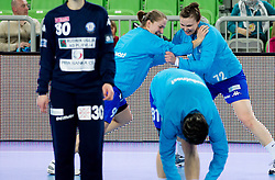 Suzana Lazovic of Buducnost and Dragana Cvijic of Buducnost at warming up during handball match between RK Krim Mercator and Buducnost Podgorica (MNE) in season 2011/2012 of EHF Women's Champions League, on February 24, 2012 in Arena Stozice, Ljubljana, Slovenia. Buducnost defeated Krim 27-26. (Photo By Vid Ponikvar / Sportida.com)