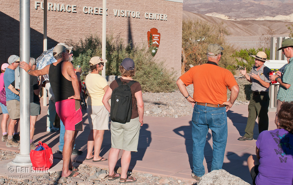 Ranger Alan Van Valkenburg leads visitors on a tour of the remodeled Furnace Creek Visitor Center in Death Valley National Park, California, as part of its Grand Re-Opening on November 4, 2012.