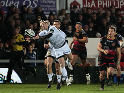 Ospreys' Jeff Hassler fails to take the high ball<br /> <br /> Photographer Simon King/Replay Images<br /> <br /> Guinness Pro14 Round 12 - Dragons v Cardiff Blues - Sunday 31st December 2017 - Rodney Parade - Newport<br /> <br /> World Copyright © 2017 Replay Images. All rights reserved. info@replayimages.co.uk - http://replayimages.co.uk