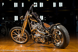 Dalton Walker's Fresno style 1941 EL build for the 75th anniversary Sturgis Naked Truth exhibition (Painted for Mama Tried) at the Mama Tried Show. Milwaukee, WI. USA. Friday February 23, 2018. Photography ©2018 Michael Lichter.