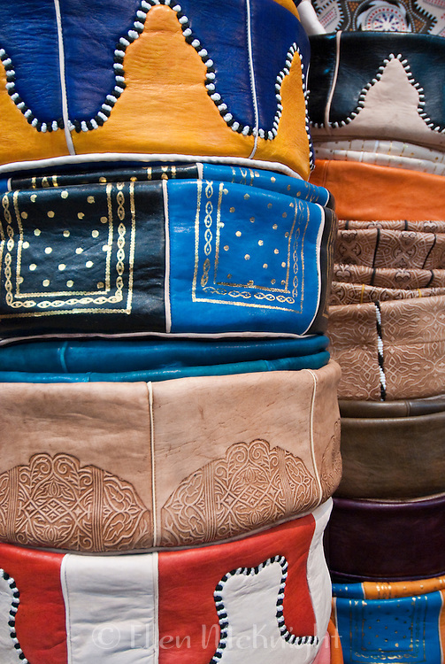 Colorful leather pouffes for sale in Fes, Morocco