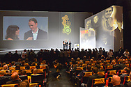 Christophe Froome (GBR) with Prix Velo D'Or Winner interviewed by Estelle Denis, Bernard Hinault during the presentation of the 105th Tour de France 2018 on October 17, 2017 at Le Palais des Congres in Paris, France - Photo I-HARIS / ProSportsImages / DPPI