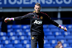 Manchester United goalkeeper, David de Gea warms up, having been named PFA Goalkeeper of the year before kick off - Photo mandatory by-line: Matt McNulty/JMP - Mobile: 07966 386802 - 26/04/2015 - SPORT - Football - Liverpool - Goodison Park - Everton v Manchester United - Barclays Premier League