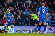 Cardiff City forward Bobby Reid (14) takes a shot during the The FA Cup 3rd round match between Gillingham and Cardiff City at the MEMS Priestfield Stadium, Gillingham, England on 5 January 2019. Photo by Martin Cole.