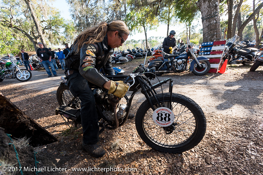 Doug Wothke on his 1916 Indian at the Cycle Source bike show at the Broken Spoke Saloon during Daytona Beach Bike Week. FL. USA. Tuesday, March 14, 2017. Photography ©2017 Michael Lichter.