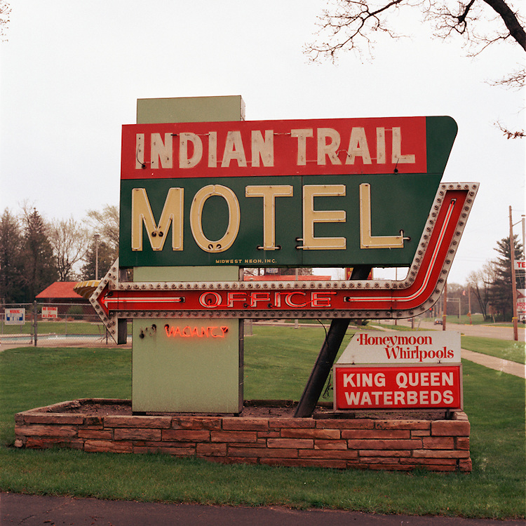 One of many signs near the Wisconsin Dells, a tourist destination for natural land formations -- and now also for its retro signs that have been keep in relatively good shape.