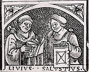 Sallust (Gaius Sallustrius Crispus) (16-34 BC) right, Roman historian and politician, and Livy (Titus Livius) (59 BC-19 AD) Roman historian. Woodcut from the title page of Appolonius of Perga 'Opera' (Venice, 1537).