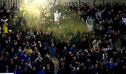 A flare is left off by Leeds United fans - Mandatory by-line: Robbie Stephenson/JMP - 09/01/2017 - FOOTBALL - Cambs Glass Stadium - Cambridge, England - Cambridge United v Leeds United - FA Cup third round