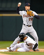 CHICAGO - SEPTEMBER 27:  Gordon Beckham #29 of the Detroit Tigers fields against the Chicago White Sox on September 27, 2019 at Guaranteed Rate Field in Chicago, Illinois.  (Photo by Ron Vesely)  Subject:   Gordon Beckham