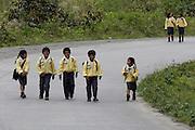 School children return home on the Interoceanic Highway