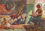 """SAUL ENDEAVOURS TO PIERCE DAVID. I Samuel xviii. 11. """"And Saul cast the javelin; for he said, I will smite David even to the wall with it And David avoided out of his presence twice From the book ' The Old Testament : three hundred and ninety-six compositions illustrating the Old Testament ' Part II by J. James Tissot Published by M. de Brunoff in Paris, London and New York in 1904"""