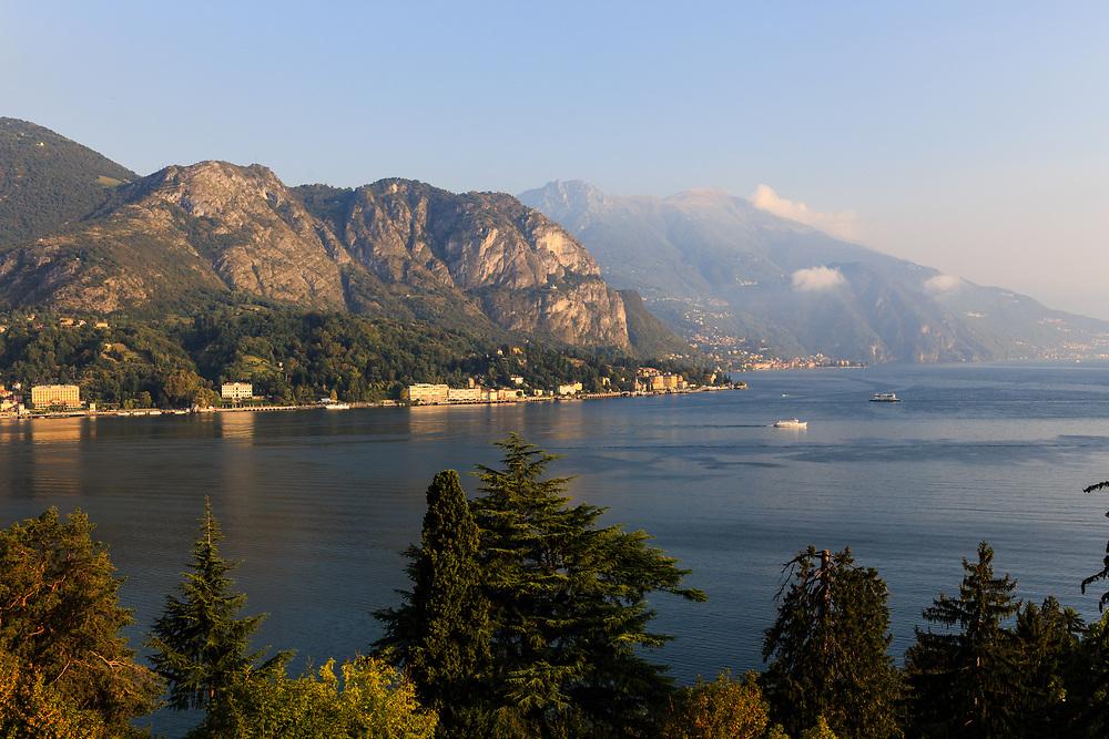 Griante village seen from Bellagio Peninsula on Lake Como, Italy.
