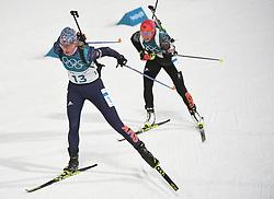 PYEONGCHANG, Feb. 12, 2018  Champion Laura Dahlmeier (R) from Germany and second-placed Anastasiya Kuzmina from Slovakia compete during women's 10km pursuit event of biathlon at the 2018 PyeongChang Winter Olympic Games at Alpensia Biathlon Centre in PyeongChang, South Korea, on Feb. 12, 2018. (Credit Image: © Wang Haofei/Xinhua via ZUMA Wire)