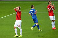 Fotball <br /> UEFA Euro 2016 Qualifying Competition<br /> 12.06.2015<br /> Norge v Aserbajdsjan / Norway v Aserbajdsjan<br /> Foto: Morten Olsen/Digitalsport<br /> <br /> Pål Andre Helland (20) - NOR<br /> Maksim Medvedev (5) - AZB<br /> Alexander Søderlund (9) - NOR