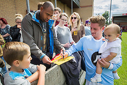 © Licensed to London News Pictures . 02/08/2015 . Droylsden Football Club , Manchester , UK . PHILIP OLIVIER signs photographs . Celebrity football match in aid of Once Upon a Smile and Debra , featuring teams of soap stars . Photo credit : Joel Goodman/LNP