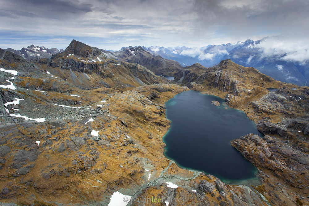 Lake on Humboldt Mountains in New Zealand