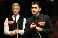 Ronnie O'Sullivan (Eng) looking on.Ronnie O'Sullivan (Eng) v Neil Robertson (Aus), Quarter-Final match at the Dafabet Masters Snooker 2017, at Alexandra Palace in London on Thursday 19th January 2017.<br /> pic by John Patrick Fletcher, Andrew Orchard sports photography.