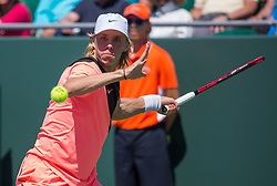 March 22, 2018 - Miami, Florida, United States - Denis Shapovalov, from Canada, in action against Victor Troicki from Serbia, during his first round match at the Miami Open  on March 23, 2018 in Key Biscayne, Florida. Shapovalov defeated Troicki 6-3, 6-7(4), 7-6  (Credit Image: © Manuel Mazzanti/NurPhoto via ZUMA Press)