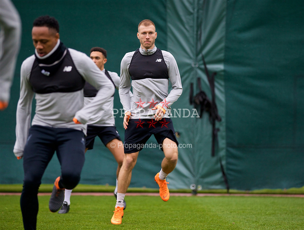 LIVERPOOL, ENGLAND - Monday, April 9, 2018: Liverpool's Ragnar Klavan during a training session at Melwood Training Ground ahead of the UEFA Champions League Quarter-Final 2nd Leg match between Manchester City FC and Liverpool FC. (Pic by David Rawcliffe/Propaganda)