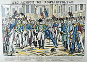 Napoleon I taking his leave at Fontainbleau of the Old Guard before going into exile on St Helena, 20 April 1814.    19th century French popular  hand-coloured woodcut.