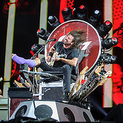 WASHINGTON, DC - July 4, 2015 - Nate Mendel and Dave Grohl of the Foo Fighters perform at the Foo Fighters 20th Anniversary Blowout at RFK Stadium in Washington, D.C. This was the band's first performance after Grohl broke his leg three weeks ago in Sweden. (Photo by Kyle Gustafson / For The Washington Post)